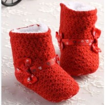 Prewalker Red Ribbon Booties