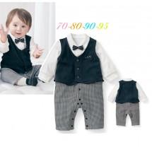 Grey Black Tuxedo Vest