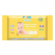 Pure Baby Hand And Mouth Wipes 60's Orange Oil