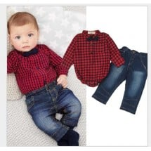 Red Shirt Denim Set